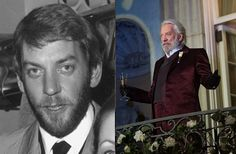 Now: Donald Sutherland as President Coriolanus Snow in The Hunger Games: Catching Fire. Acting steadily for 50 years in every kind of film genre, Sutherland actually read The Hunger Games script, was hooked and pitched Gary Ross a more detailed backstory for the refined but villainous President Snow. Ross loved the material and even added a few original scenes to the finished script for the first film.