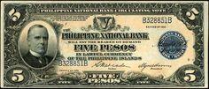 Banknote: Us Philippines National Bank 5 Pesos 1937 Sn# Vf-Xf Philippine Peso, William Mckinley, Old Money, World Coins, Philippines, Paper, Banknote, Dollar Bills, Victorian
