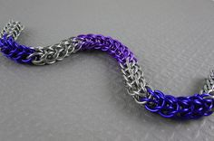 Color block stainless steel and anodized aluminum bracelet in Full Persian weave
