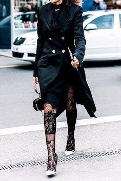 The Feminine Tights Trend It Girls Keep Wearing via @WhoWhatWear