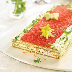 Savoury Sandwich Cake Lohivoileipäkakku @ Maku (Recipe in Finnish) Salmon Sandwich, Sandwich Cake, Sandwich Recipes, Sandwiches, Finnish Recipes, Baking Tins, Savory Snacks, Savoury Cake, High Tea