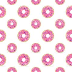 Vector seamless pattern of donuts with pink icing and sprinkles. Pattern Illustration, Photo Illustration, Pink Icing, Free Vector Art, Background Images, Royalty Free Images, Abstract, Donuts, Mobiles