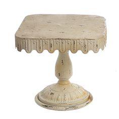 Beautiful Cream Vintage Metal Cake Stand