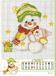 Cross-stitched Snowmen.