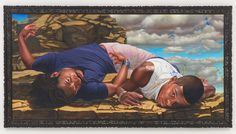 You must see this painting in person.  Because of its scale, the men are giants. Or gods.    Roberts & Tilton | Kehinde Wiley  Kehinde Wiley Santos Dumont - The Father of Aviation II, 2009 Oil on canvas 78 x 156 in (198.1 x 396.2 cm)