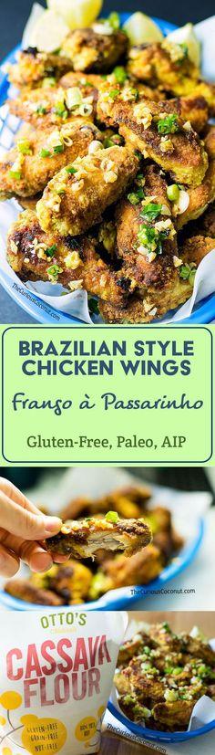 Brazilian Style Chicken Wings with Crispy Garlic - Frango à Passarinho (Paleo, Gluten-Free, AIP option) // TheCuriousCoconut.com