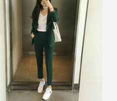 Blazer Women New Spring and Autumn New Womens Wild Suit Straight Trousers Blazer Feminino Bleiser Feminino Women Clothes Office Outfits Women, Casual Work Outfits, Professional Outfits, Classy Outfits, Trendy Outfits, Cool Outfits, Fashion Outfits, Womens Formal Pants Outfits, Work Casual