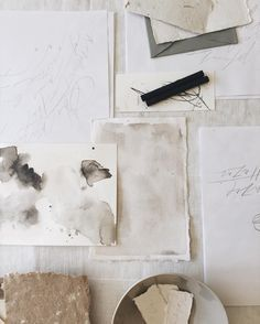 gorgeous paper and calligraphy in shades of neutral colors sarah___ingram