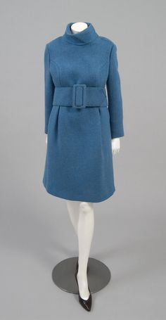 Victor Joris Coat and Belt - American 1969. Cadet blue wool tweed