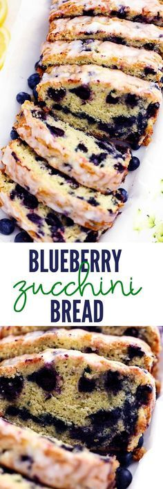 Blueberry Zucchini Bread with a Lemon Glaze will be one of the best quick breads you EVER make! Perfectly moist with two cups of zucchini hidden inside and bursting with fresh blueberries. The lemon glaze it the perfect finishing touch! Muffin Recipes, Baking Recipes, Cake Recipes, Dessert Recipes, Drink Recipes, Blueberry Zucchini Bread, Blueberry Recipes, Köstliche Desserts, Delicious Desserts