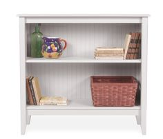 Cottage Wide Bookcase - Angel White - Handcrafted in Maine of sustainably harvested poplar hardwood solids and composite wood beadboard panels, the bookcase features two fixed shelves. Stocked