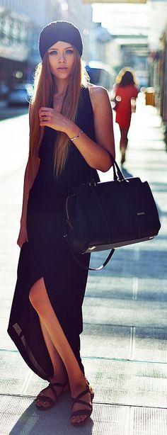 Black Split Maxi Dress by Kayture
