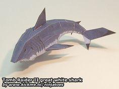 Tomb Raider II great white shark papercraft: http://ninjatoes.wordpress.com/2006/01/01/tomb-raider-ii-great-white-shark/