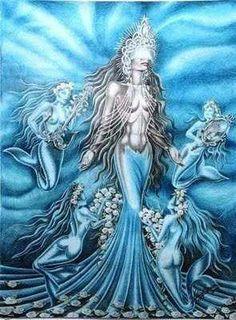 No photo description available. African Mythology, African Goddess, Black Goddess, Goddess Art, Oshun Goddess, Yemaya Orisha, Azores Portugal, Yoruba Orishas, Mermaid Artwork