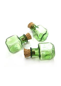 5PCS 23x15mm Tiny colored cube glass vials bottle clear message bottle charms Green (6-10-58). $4.50, via Etsy.