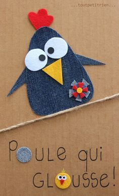 The collec '- toutpetitrien site! Jean Crafts, Denim Crafts, Diy And Crafts, Crafts For Kids, Paper Crafts, Artisanats Denim, Denim Art, Christmas Elf Doll, Christmas Card Crafts