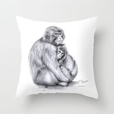 Snow monkey and baby Throw Pillow by S-Schukina - $20.00