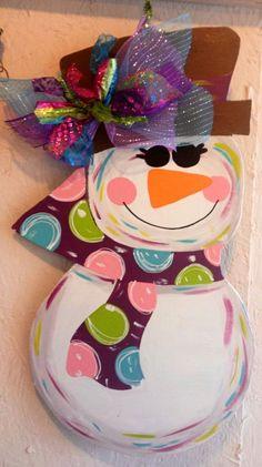 SALE--Wooden Snowman for your front door - wooden door decoration - wooden door hanging. $42.00, via Etsy.