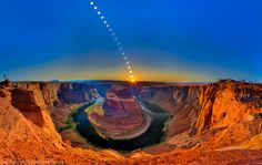 """Ring of Fire, Horseshoe Bend by Clinton Melander (""""I wanted to capture this remarkable experience of the Annular Solar Eclipse at Horseshoe Bend in Northern Arizona. This large composite image measuring 22500x14250 and is made from about 48 images, 30 frames were shot with a Canon 5dmk3 with a 24mm lens with a 3 frame per shot in-camera HDR that make up the body of the image and 18 frames shot with a Canon 5dmk2 with a 400mm for the composited eclipse of the sun in place over the canyon."""")"""