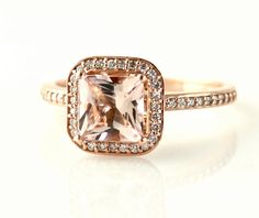 14K Rose Gold Morganite Engagement Ring Princess Diamond Halo Morganite Ring Custom Bridal Jewelry. Cant get enough of this ring.