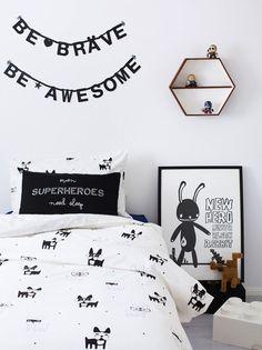 Monochrome superhero bedroom