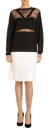 Nina Ricci Lace Overlay Front Sweater