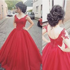 Red Cap Sleeve Princess Ball Gown Prom Dress ,Formal Gown With Lace Appliques