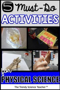 """Incorporate these 5 """"must-do"""" lab activities in your middle and high school Physical Science classes to increase motivation and improve test scores. Physical Science Projects, School Science Experiments, Elementary Science, Science Lessons, Science Activities, High School Science Projects, Science Notes, Science Notebooks, Science Fun"""