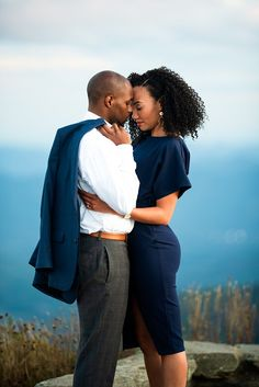 Mountain engagement session in Asheville, NC with African American couple, Formal Engagement session looks. blue outfit for engagement session, Curly hair natural hair engagement session, The Great Craggy Mountains Formal Engagement Photos, Engagement Photo Outfits, Engagement Pictures, Engagement Session, Country Engagement, Beach Engagement, Engagement Photography, Save The Date Photos, Burlap Weddings