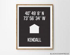 Housewarming Gift, Latitude Longitude Coordinates by BlackstarPress