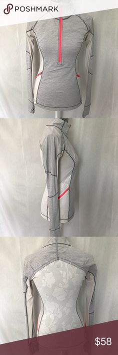 [Lululemon] long sleeved top [Lululemon] long sleeved top  •good pre-owned condition  •light grey color with cream mesh and neon pink trim •thumb holes, zip up pullover   •rip tag removed, no size dot, fits like 4-6   🛍Thank you for shopping my Posh closet @melodyraquel lululemon athletica Tops Tees - Long Sleeve