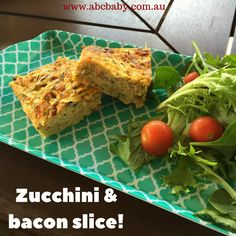 This Slice is super easy to make and great for school lunches,  It can be frozen to use at a later date. You can add whatever veggies you have in the fridge too! Ingredients: 4 rashes of bacon, 2 grated zucchini 2 grated carrots 6 eggs 1/2 cup of milk 1 cup of cheese 1 teaspoon of mustard 1/2 cup of shallots   Method:  Fry shallots, and bacon in on...