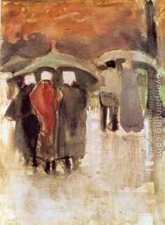 Vincent van Gogh. Scheveningen women and other people under umbrellas 1882