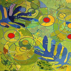 Ignacio Klindworth. Gotas. Serie orgánicas. Inkjet print y óleo sobre tela. 114x114cm. Madrid 2006. www.ignacioklindworth.es