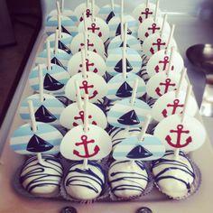 Nautical baby shower cake pops