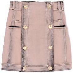 Balmain Denim Skirt ($1,055) ❤ liked on Polyvore featuring skirts, bottoms, faldas, balmain, pastel pink, balmain skirt, knee length denim skirt, pastel skirt and denim skirt