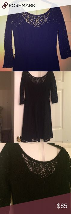 WHBM - Black lace cocktail dress Stunning black lace dress! 3/4 sleeves, scoop neck in the back. Comes with a black skinny belt. You will LOVE wearing this dress to a wedding, semi-formal event, or on date night! Worn once for a work event, still has dry cleaner tab on the tag. Excellent like-new condition. White House Black Market Dresses