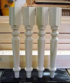 """3 1/2"""" x 29"""" poplar wood table legs - Colorado pattern.  Would make great table legs for a harvest table."""