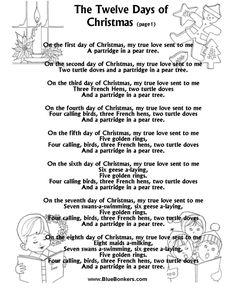 Printable Christmas Carol Lyrics sheet : The Twelve Days of Christmas