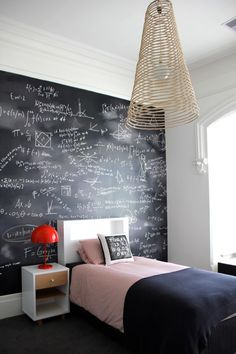 cool chalk board wall!!Blackboard wall from toddler to teenage years.. possibility of making this magnetic too?