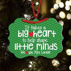 Christmas Ornament Big Heart Teacher Personalized Ornament Personalized Teacher Gifts Personalized Christmas Gifts