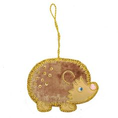 "This fair trade hedgehog ornament is handmade with soft brown velvet and adorned with sequins and hand embroidery. - Handmade in India - 3"" tall - Gold metallic cording Handmade by low-income artisans"