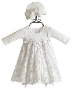 Embellished Onesie.  lace appliques and bow on baby hat.  Katie Rose Baby Doll Sara Bloomer Dress with Hat