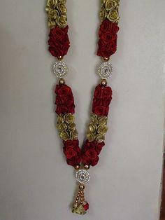 Diy Roses Garland with satin ribbon Satin Ribbon Flowers, Fabric Roses, Satin Roses, Diy Diwali Decorations, Handmade Decorations, Festival Decorations, Ribbon Garland, Diy Ribbon, How To Make Garland