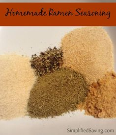 Homemade Ramen Seasoning Recipe Homemade Ramen Seasoning 2 T Poultry Seasoning 2 T Garlic Powder 2 T Onion Powder 2 chicken-flavored bouillon cubes 1 tsp black pepper {We're not big fans of pepper, so feel free to add more if you think it needs more. Homemade Spices, Homemade Seasonings, Homemade Ramen Broth, Spice Blends, Spice Mixes, Soup Mixes, Spice Jars, Ramen Recipes, Cooking Recipes