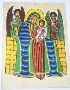 Angels watching over the Holy Mother and Child, Ethiopia
