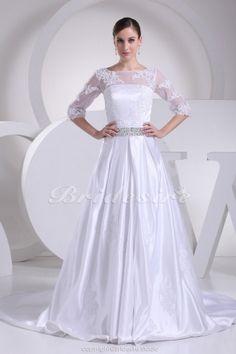 A-line Bateau Chapel Train Half Sleeve Satin Wedding Dress - $184.99