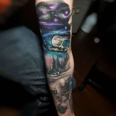 Starry Night Sleeve Tattoo by Tyler Malek #TattooYou