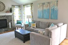 Welcome to the Mouse House: The NEW Family Room Reveal! I absolutely love everything about this living room. Curtain fabric is my fav.