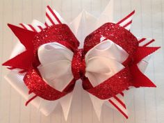 """5"""" Christmas Hair Bow: Candy Cane on Etsy, $6.00"""